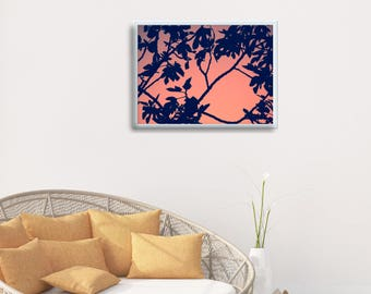 Peach Wall Print, Fig Tree Print, Peach Wall Decor, Tropical Leaf Printable, Tropical Bedroom Wall Decor, Pink Tropical Print, Fig Leaf