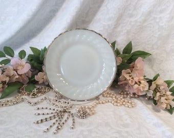 Fire King, Anchor Hocking White Milk Glass with Gold Trim Salad/Dessert/Tea Plate
