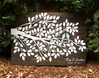 120 Leaves Rustic Wood Tree Guest Book Birds | White on Wood | Guest Book Alternative