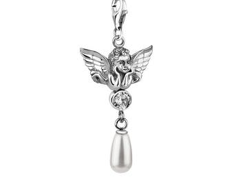 Angel Pendant|Handmade Pendant|Silver Pendant|Pearl Pendant|Swarovski Crystal|Silver Jewelry|Handmade Jewelry|Pandora Charm|