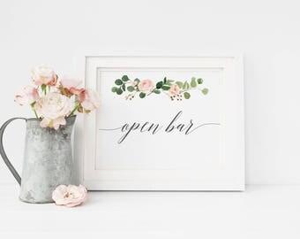 Open Bar Sign, Wedding Bar Sign, Bar Reception Decorations, Open Bar Wedding Sign, Wedding Open Bar Sign, Wedding Printable Signs #MG001