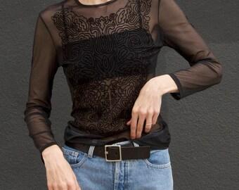 90s Vintage Sisley Black Mesh Velvet Sheer Top S/M