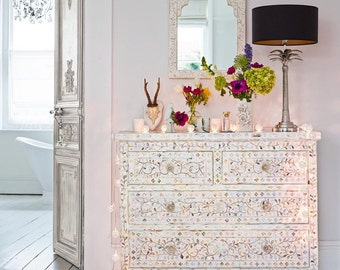 Mother of Pearl Inlay floral design and tiger legs Chest of Four Drawers - Bohemian Artefacts