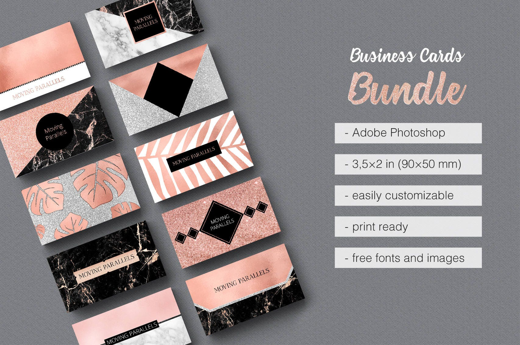 rose gold white black marble glitter foil business card