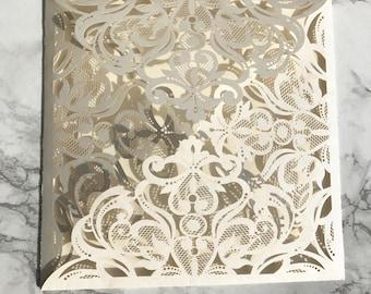 Pearl Ivory Laser Cut Gatefold Wedding Invitation DIY