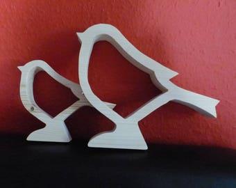 wooden birds, Set of 2pcs. Decoration or Gift, art & craft