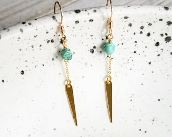 Turquoise Earrings, 14k Gold Earrings, Gold Dangle Earrings, Bohemian Earrings, Geometric Dangle Earrings, Spike Earrings, Gift For Her