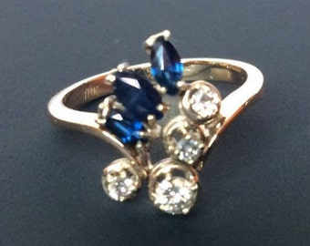 DIAMONDS.45 natural qt. Solid 10k gold. Ring with diamonds and SAPPHIRES. Ring Zafiros.Anillo September Abril.Piedra Diamantes.Piedra.
