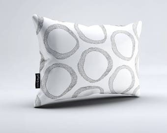 Pattern White Lumbar Pillow, Throw Pillow, Black and White Pillow, Rectangular Pillow, Decorative Pillow, Throw Pillows, Pillow, Pillows