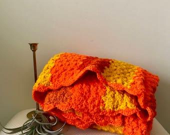 Vintage Burnt Orange, Neon Orange & Yellow Afghan Blanket