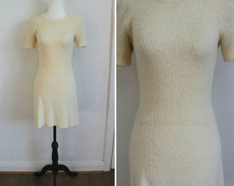 Icing on the Cake Dress - 70s ivory nubby knit dress, small