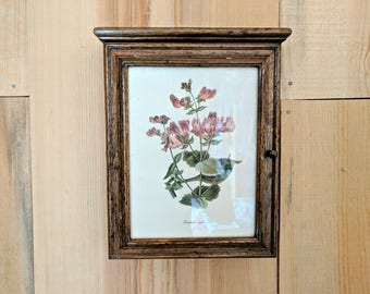 vintage wood key box | botanical wooden key cabinet