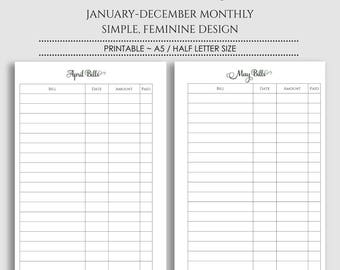 """Monthly Bill Pay Tracker Printable Planner Inserts ~ Budget, Bills Due Reminder, Payment Organizer ~ A5 / 5.5"""" x 8.5"""" Instant Download"""