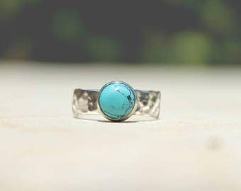 turquoise ring, silver hammered ring, blue statement ring, hammered silver ring, wide silver band, natural blue ring, bohemian ring, :)