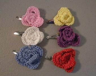 Set of 6 Crochet Flower Hair Clips