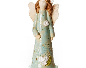 Guardian Angel of Wellbeing Teal Dress | Little Angel with Sweet Face | Hand Made Ceramic Ornament | Quirky & Thoughtful Gift