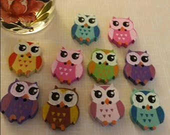 Cute Owl Colourful Wooden Buttons