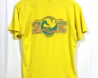 80s Oklahoma City OKC Lyric Theater Yellow Graphic Promo Shirt Sz Large Neon Historic Community History Thunder Local Shop Performing Arts