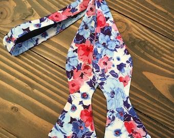 Floral Bow Tie - Spring Bow Tie - Self Tie