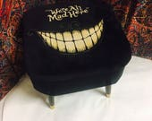 Black footstool/ Alice in Wonderland storage/ home decor/ Cheshire Cat/ one of a kind furniture/ upcycled