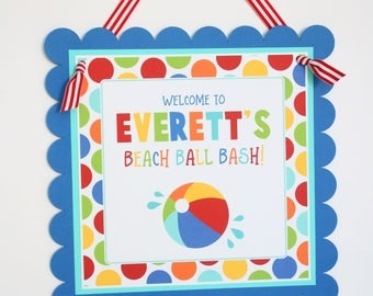 Beach Ball Birthday Welcome Door Sign - Pool Party Beach Ball Birthday Decorations Fully Assembled - Pool Party Welcome Sign