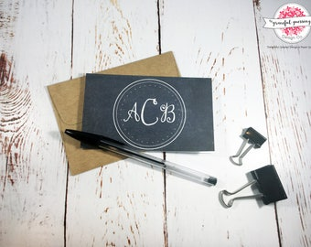 Personalized Stationery for Women - Chalkboard Style Cards - Personalized Note Cards With Envelopes - Monogram Note Cards - Circle Monogram
