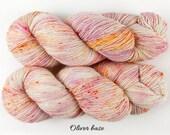 Draft No. 16 - hand dyed yarn, purple and peach orange speckle - single ply wool cashmere silk - fingering sock - 115 g 425 yds - OOAK