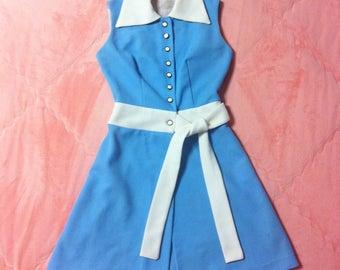 1960s Vintage Sky Blue Mod Dress ILGWU Made / ILGWU Vintage Sixties 60s Mod Dress