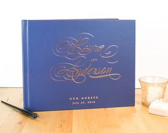 Navy Wedding Guest Book Rose Gold, Elegant Wedding Guestbook for Polaroid, Rose Gold Wedding Guest Book, Custom Wedding Guest Book Navy Blue