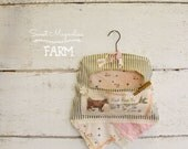 Vintage Clothespin Bag - Vintage Linen Lace - Cow Bluebird Clothesline - Fresh From the Line - Farmhouse Country Chic Style