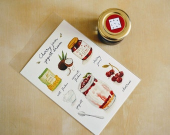 Illustrated Recipe Cards with one jar homemade cherry jam