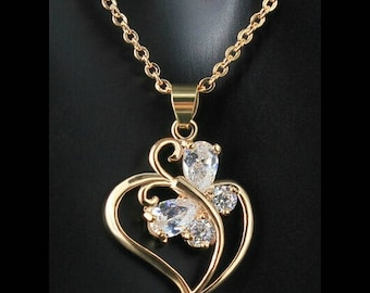 Crystal Heart Necklace,Crystal Heart Pendant,Crystal Heart Jewelry