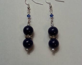 Navy Blue Glass Bead Ball Earrings with Rhinestones and Swaroski Crystals