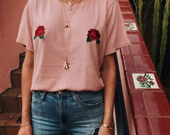 Pink Rose Embroidery Patch T-Shirt - Brandy Melville Inspired