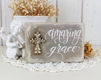 Amazing grace wooden block sign Small rustic farmhouse decor Primitive scripture wall art Gift for prayer or christian Bible verse quote