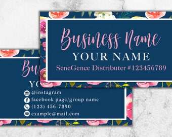 Navy and Floral Card // Feminine Business Card // LipSense Business Card // 20% Off