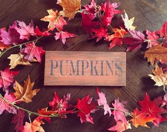 Pumpkin Wood Sign - Wood Halloween Sign - Thanksgiving Decor - Halloween Decorations - Fall Wood Sign - Halloween Shelf Sitter Sign