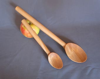 Pair of Handcrafted Wood Mixing Spoons For Gift or Home. Wood Kitchenware.