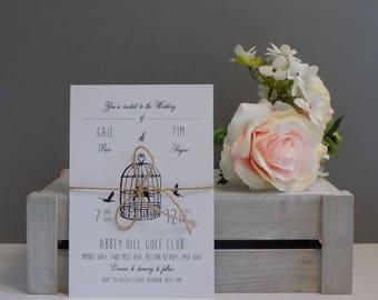 Personalised Shabby Chic Birdcage Wedding Invitation, RSVP and Wedding Wish