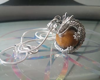 Tiger's Eye crystal necklace with 925 silver chain