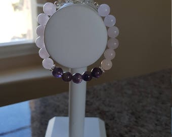 "7"" 8 mm Amethyst & Rose Quartz Bracelet w/925 Sterling"