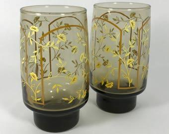1960's   Vintage   Set of 2 Retro Glasses   smoky black with yellow flowers