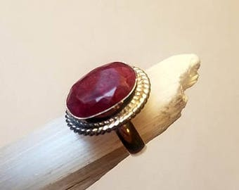 Raw Ruby Ring Natural Ruby Ring Crystal Ruby Ring Silver Plated size 6 statement ring