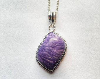 Charoite Necklace Purple Charoite Necklace Charoite Pendant Purple Charoite Pendant Purple Charoite Crystal Statement Crystal