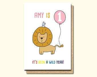 1st birthday card, personalised 1st Birthday Card, Girl 1st birthday card, boy 1st birthday cad, Niece card, Sister card, Granddaughter card