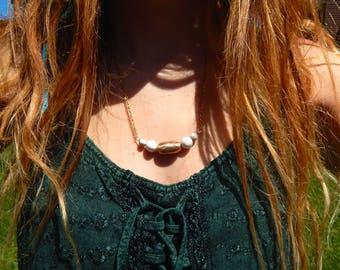 gold goddess beaded necklace