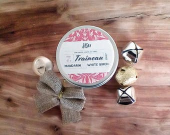 TRAÎNEAU // Mandarin & White Birch Soy Candle // 4oz. Candle Travel Tin // Hand Poured // Christmas Gift // All Natural Candle // Luxury