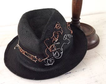 Steampunk straw hat Black trilby and decorations steel screws and nails modern and aggressive style hat for young men and women gift him