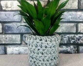 Small grey crochet basket