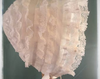 Vintage Baby  French Lace and Satin Ribbon  Bonnet